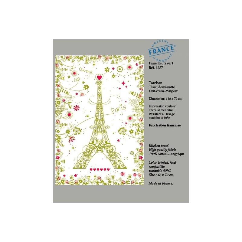 Torchon Paris avec Fleurs - Vert