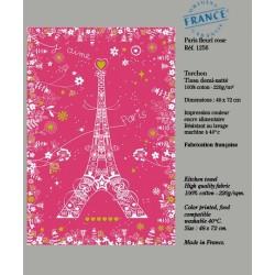 Torchon Paris avec Fleurs - Rose
