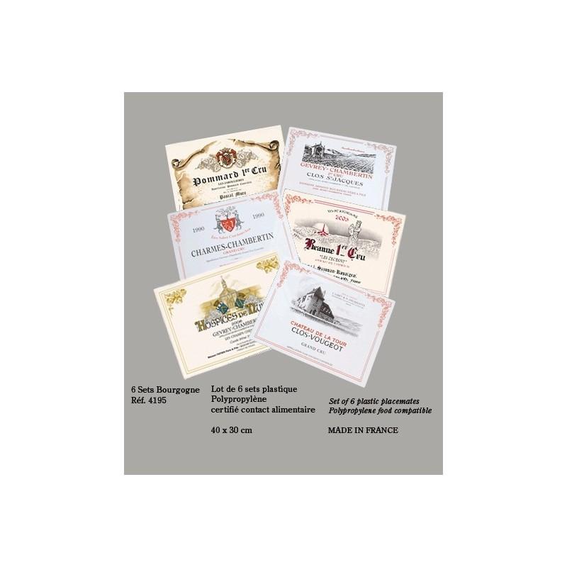 """Sets de table """"Les Vins de Bourgogne"""""""