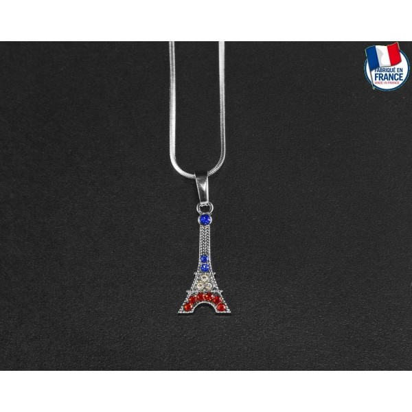 Collier Tour Eiffel aux couleurs de la France