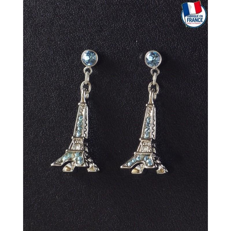Boucle d'Oreilles Tour Eiffel Saphir