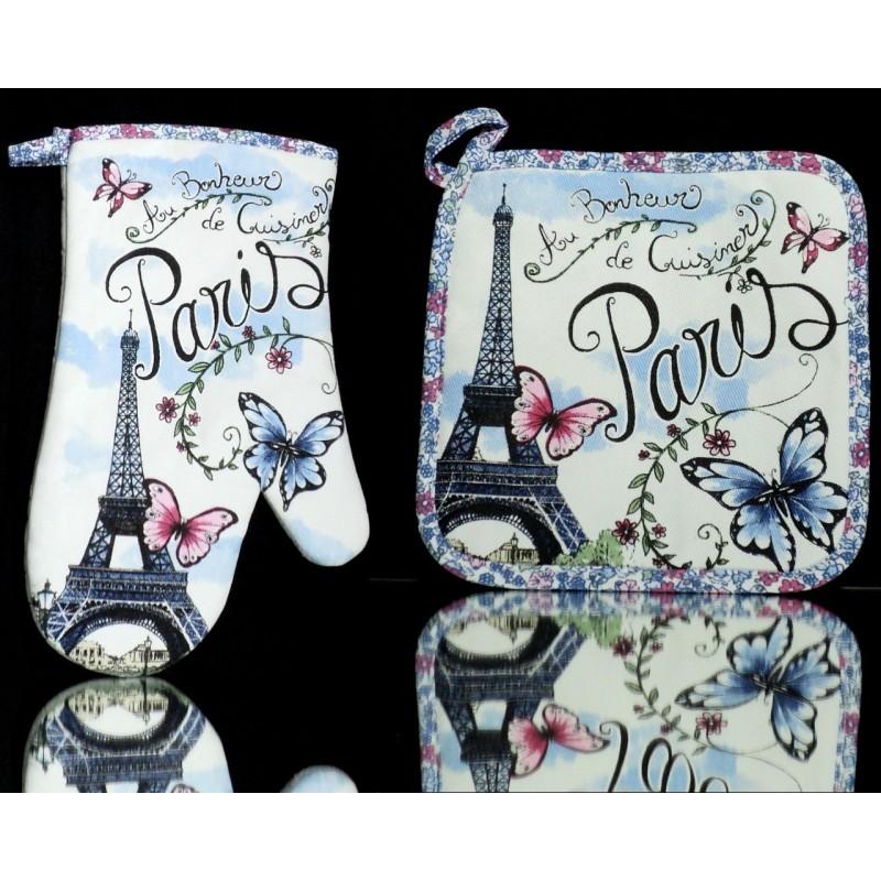 Manique et Gant de cuisine Papillon de Paris