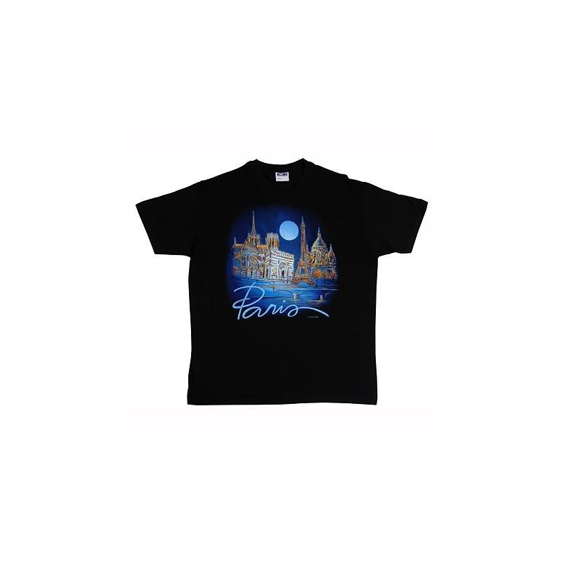 T-Shirt Noir Lune Bleu sur Paris