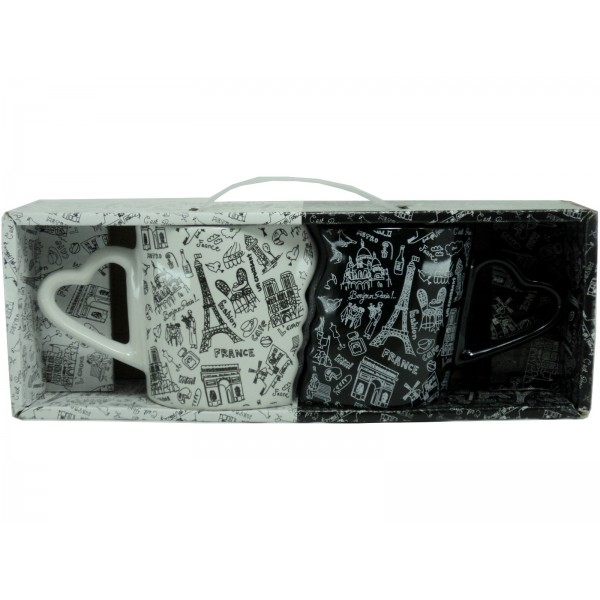 "Duo Mugs ""Monuments de Paris"" Noir et Blanc"