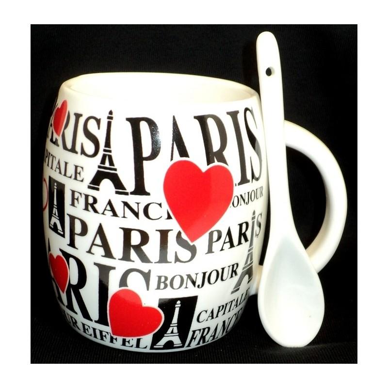 Mug Paris coeur avec cuillère