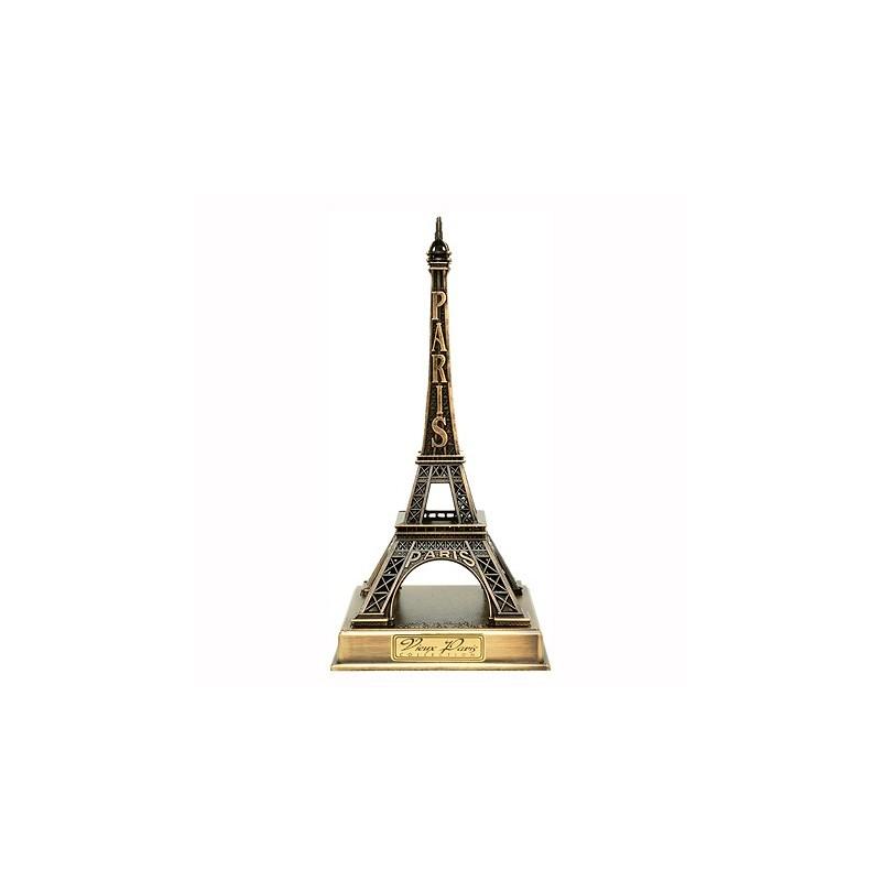 Tour Eiffel bronze sur socle métal 22 cm - Made in France