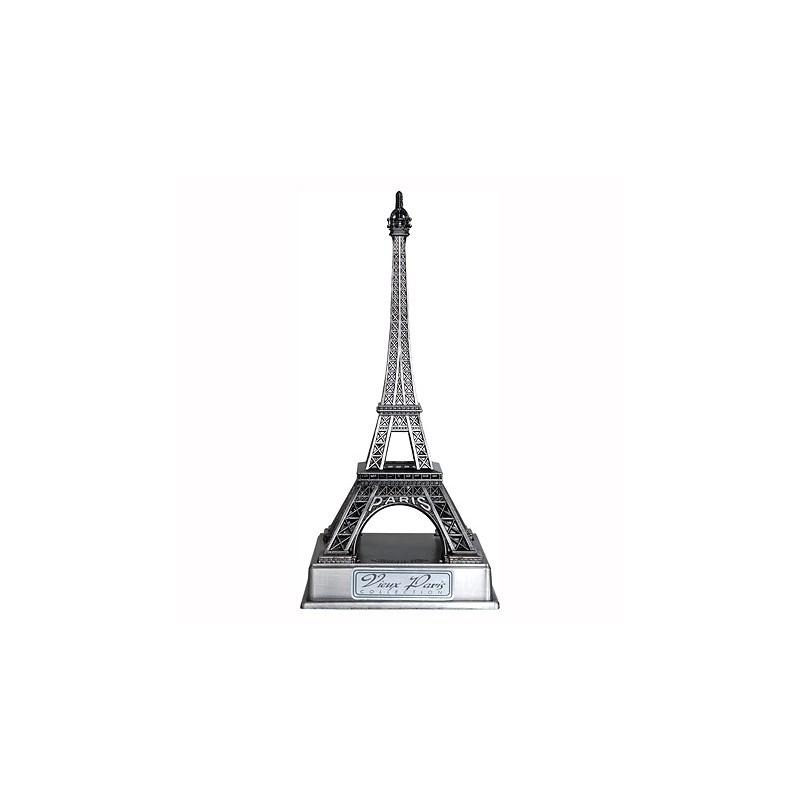 Tour Eiffel vieil argent sur socle - 10 cm - face