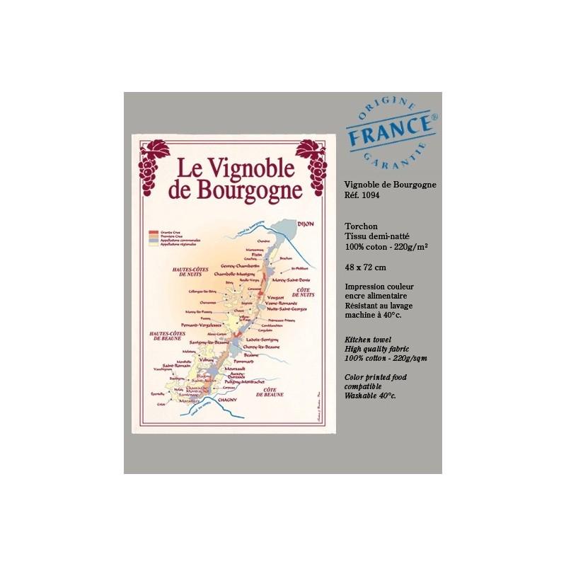 Torchon Plan des Vignobles de Bourgogne