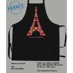 Tablier Macarons de Paris - Noir