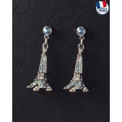 Boucle d'Oreilles Tour Eiffel bleu Saphir