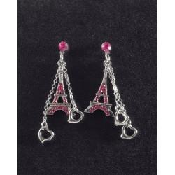 Boucle d'oreille Tour Eiffel rose pendentif Coeur