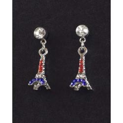 Boucle d'oreille Tour Eiffel bleu blanc rouge