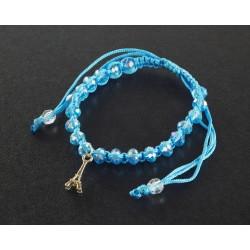 Bracelet Paris avec cordon et perles bleu