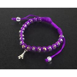Bracelet Paris cordon et perles violet