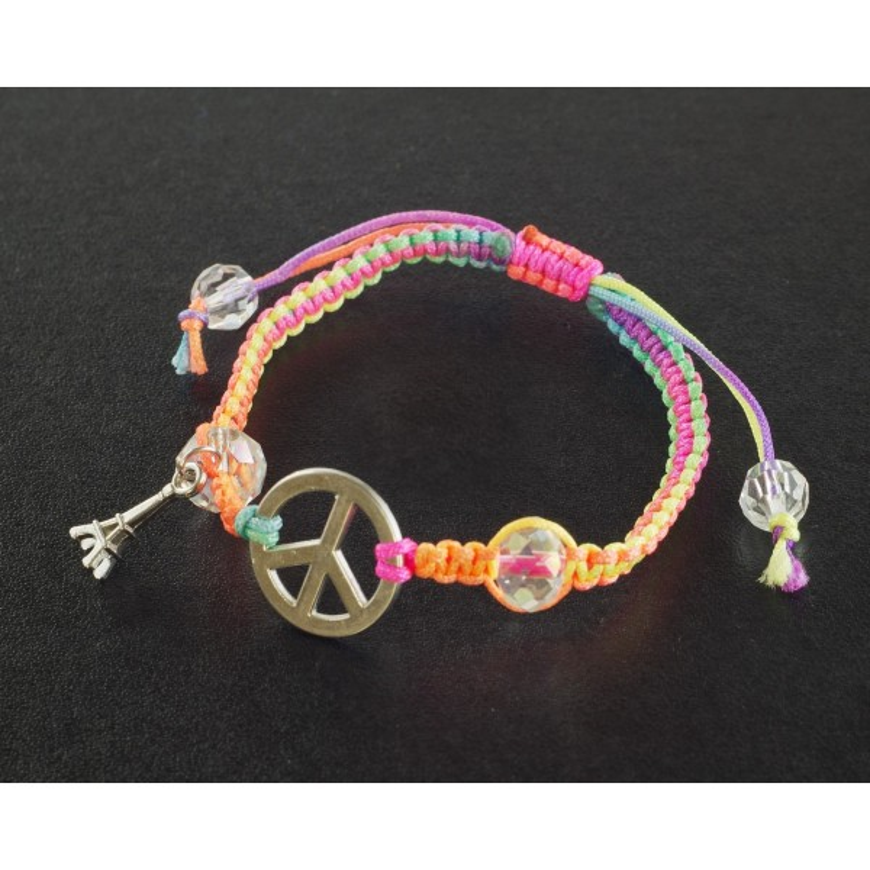 Bracelet Paris Paix avec cordon tresse
