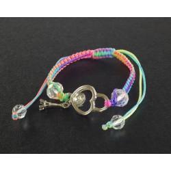 Bracelet Paris pendentif coeur et cordon multicouleur