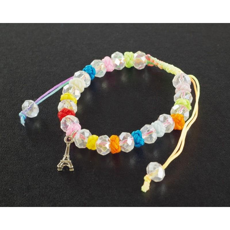 Bracelet Paris cordon et perles arc en ciel