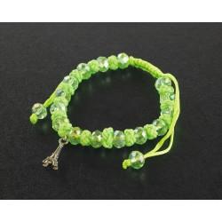 Bracelet Paris cordon et perles vert