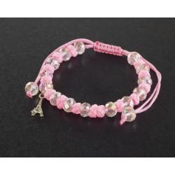 Bracelet Paris perles blanches et cordon rose