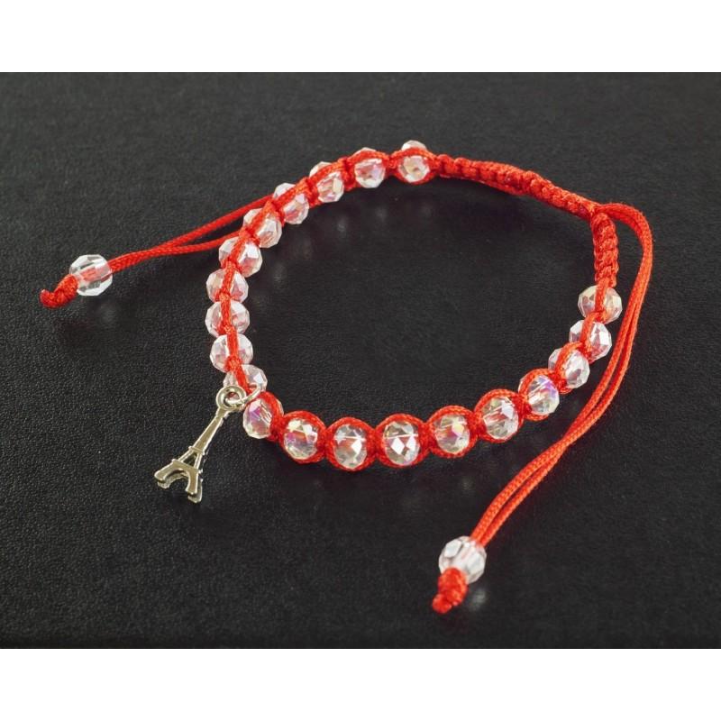 Bracelet Paris perles blanches et cordon rouge