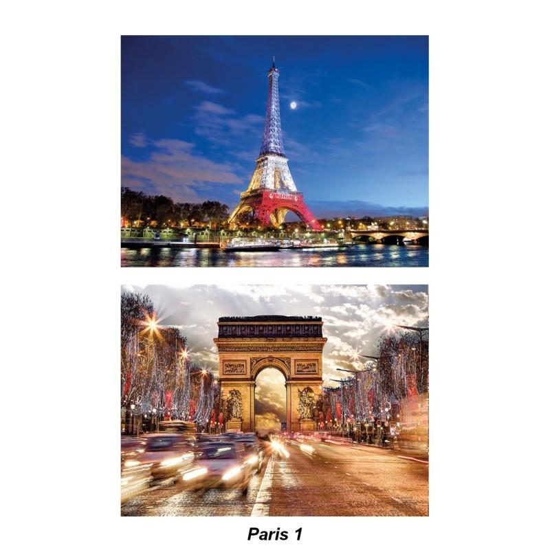 Set de table Paris Tour Eiffel bleu/blanc/rouge et arc de triomphe