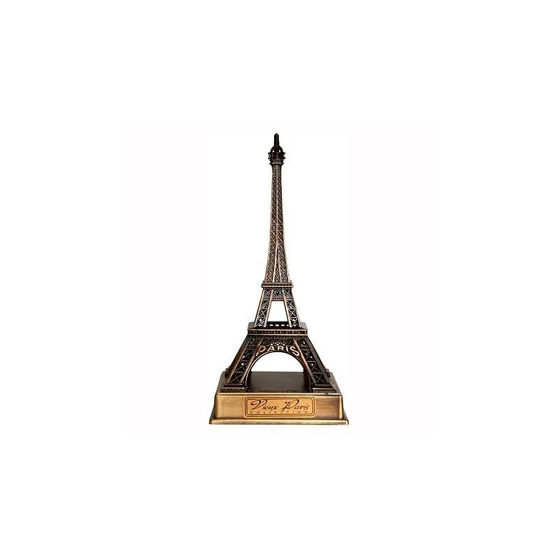 Tour Eiffel bronze sur socle métal 17 cm - Made in France