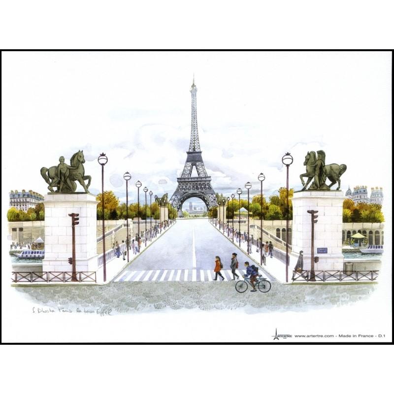 """Affiche F. Dhoska """"Paris en couleur"""" 15cm x 20 cm"""