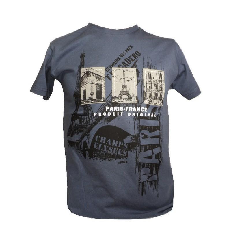 T-shirt 3 Monuments enfant bleu