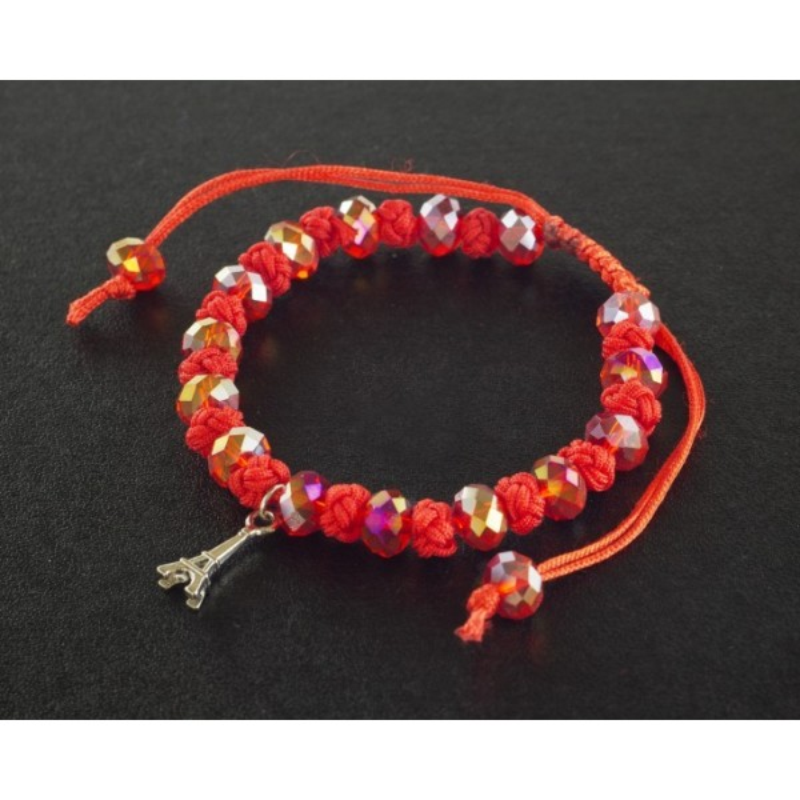 Bracelet Paris cordon et perles rouge