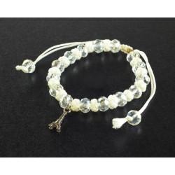 Bracelet Paris perle et cordon blanc