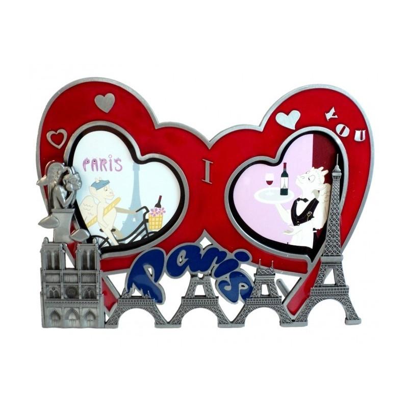 Cadre Photo double coeur Tour Eiffel / Notre Dame