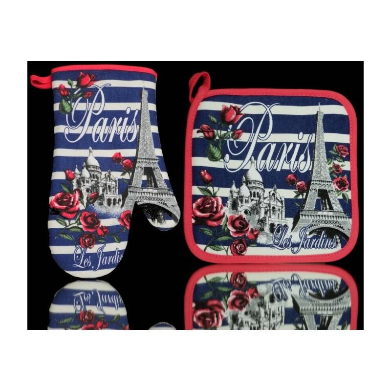 Manique et Gant de cuisine Roses de Paris