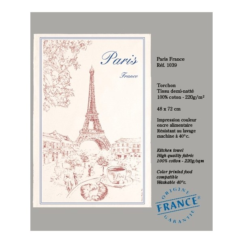 Torchon Paris et la Tour Eiffel