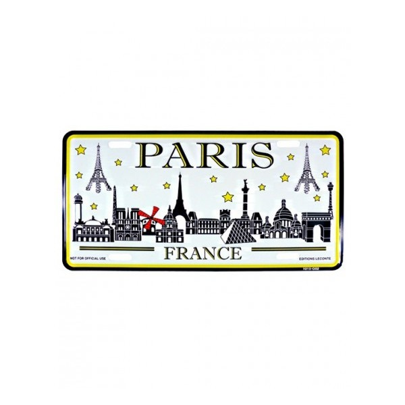 "Plaque d'immatriculation Paris ""métal"""