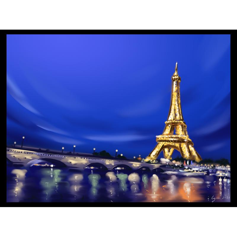 Tableau Tour Eiffel Nuit Claire