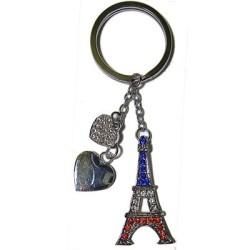 Porte-clé 2 coeurs bleu/blanc/rouge